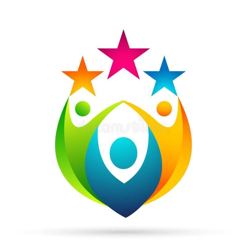 Αφηρημένο λογότυπο εορτασμού ένωσης ανθρώπων στο εταιρικό επενδυμένο επιχειρησιακό επιτυχές λογότυπο Οικονομικό εικονίδιο έννοιας διανυσματική απεικόνιση