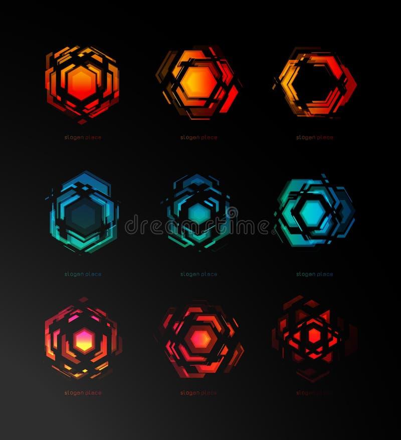 Αφηρημένο λογότυπο κατασκευαστών, φουτουριστική τεχνολογία, πρότυπο εικονιδίων Γεωμετρικό σχέδιο, ψηφιακή έκρηξη bright light απεικόνιση αποθεμάτων