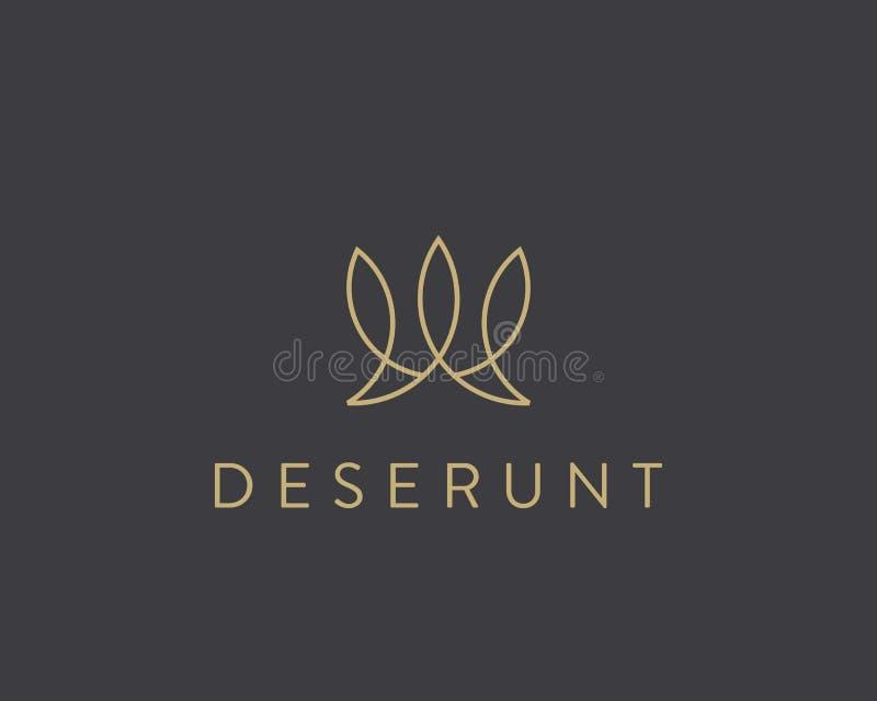 Αφηρημένο λογότυπο κορωνών φύλλων ψαριών Δημιουργικό διάνυσμα γραμμών logotype ελεύθερη απεικόνιση δικαιώματος