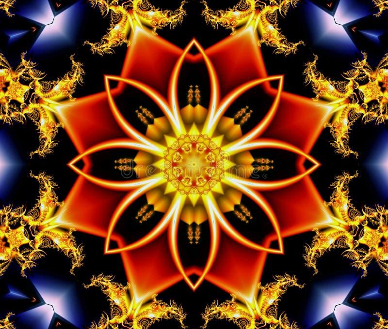 Αφηρημένο λουλούδι με τις μορφές κόκκινων οκτάγωνων αστεριών και fractal με τον κυκλικό φωτισμό ελεύθερη απεικόνιση δικαιώματος