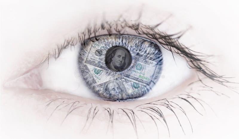 Αφηρημένο μάτι με την αντανάκλαση χρημάτων στο άσπρο υπόβαθρο στοκ εικόνα