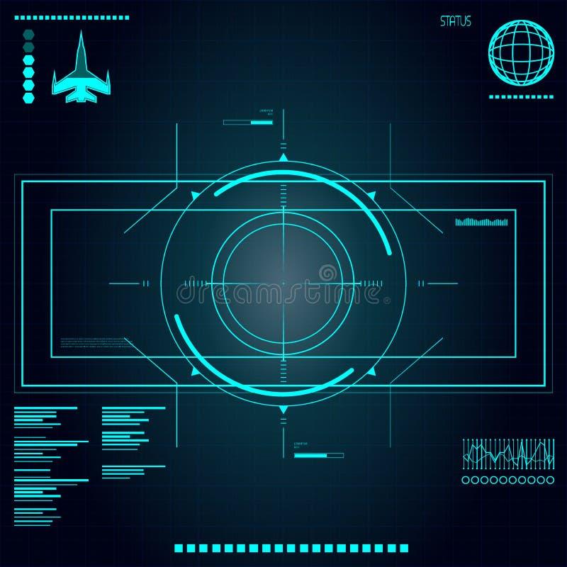 Αφηρημένο μέλλον, διανυσματικός φουτουριστικός μπλε εικονικός γραφικός χρήστης αφής έννοιας ελεύθερη απεικόνιση δικαιώματος