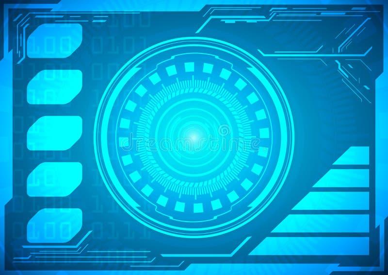 Αφηρημένο μέλλον, διανυσματικός φουτουριστικός μπλε εικονικός γραφικός έννοιας ελεύθερη απεικόνιση δικαιώματος