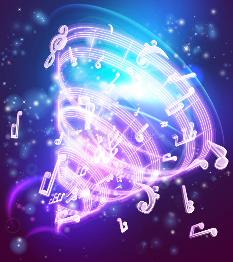 Αφηρημένο μαγικό υπόβαθρο σημειώσεων μουσικής μουσικό διανυσματική απεικόνιση