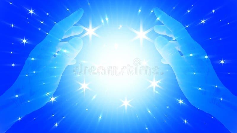 Αφηρημένο μαγικό χέρι σφαιρών PSI στο υπόβαθρο φαντασίας με το μπλε ελαφρύ χρώμα και τα αστέρια απεικόνιση αποθεμάτων