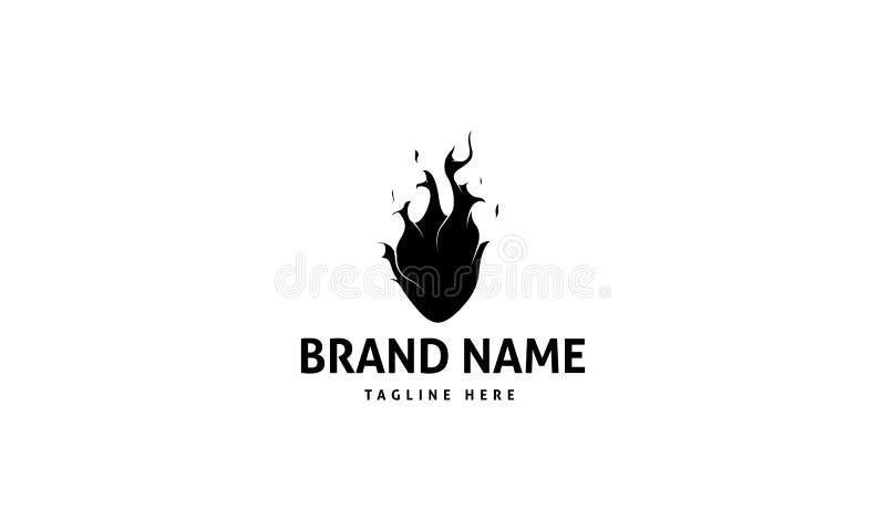 Αφηρημένο μαύρο διανυσματικό σχέδιο λογότυπων πυρκαγιάς καρδιών ελεύθερη απεικόνιση δικαιώματος
