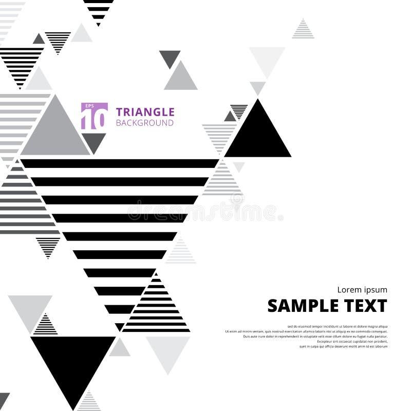 Αφηρημένο μαύρο και γκρίζο σχεδιάγραμμα σύνθεσης τριγώνων στη λευκιά ΤΣΕ διανυσματική απεικόνιση
