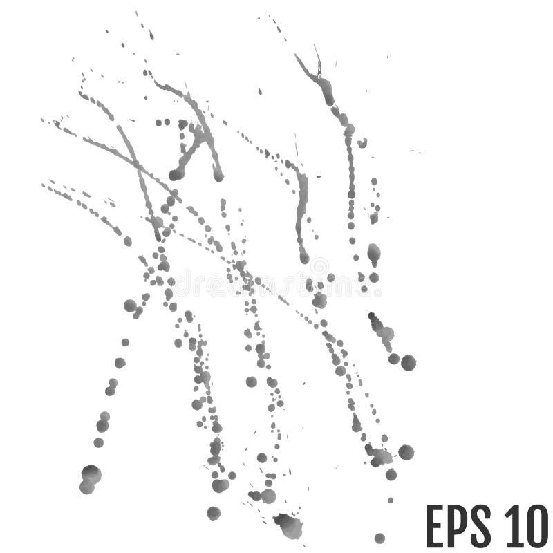 Αφηρημένο μαύρο και γκρίζο υπόβαθρο παφλασμών χρωμάτων watercolor μαύρος παφλασμός watercolor που απομονώνεται στο λευκό απεικόνιση αποθεμάτων
