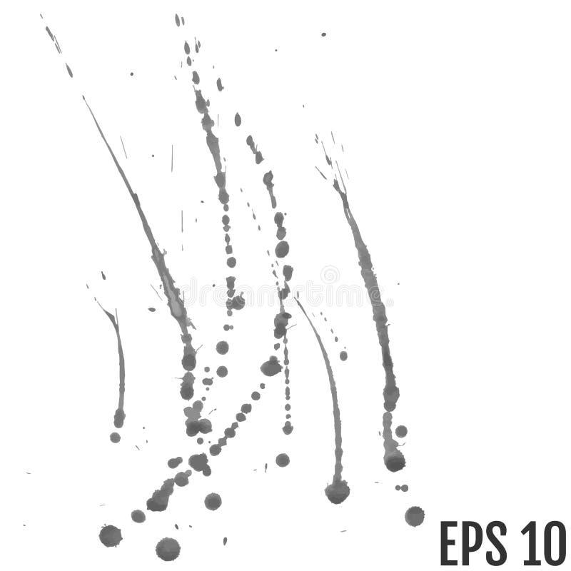 Αφηρημένο μαύρο και γκρίζο υπόβαθρο παφλασμών χρωμάτων watercolor Blac διανυσματική απεικόνιση