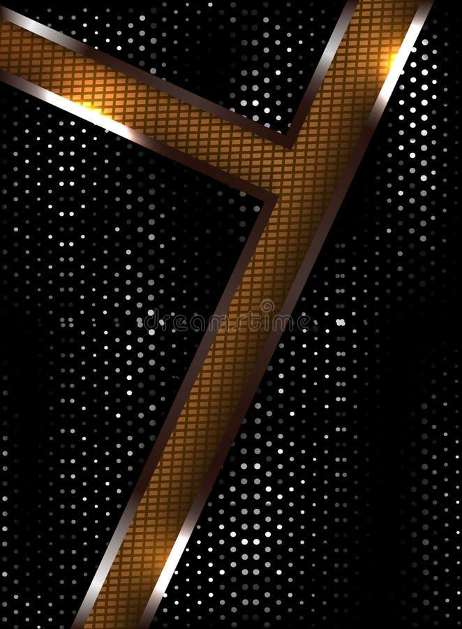 Αφηρημένο μαύρο υπόβαθρο με χρυσό και ασημένιος, ελαφρύς και τη σκιά απεικόνιση αποθεμάτων