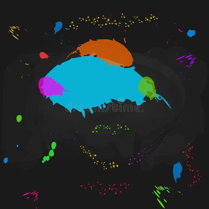Αφηρημένο μαύρο υπόβαθρο πινάκων με τους ζωηρόχρωμους παφλασμούς χρωμάτων και splatter Πρότυπο σχεδίου για την εκπαίδευση, πίσω σ διανυσματική απεικόνιση