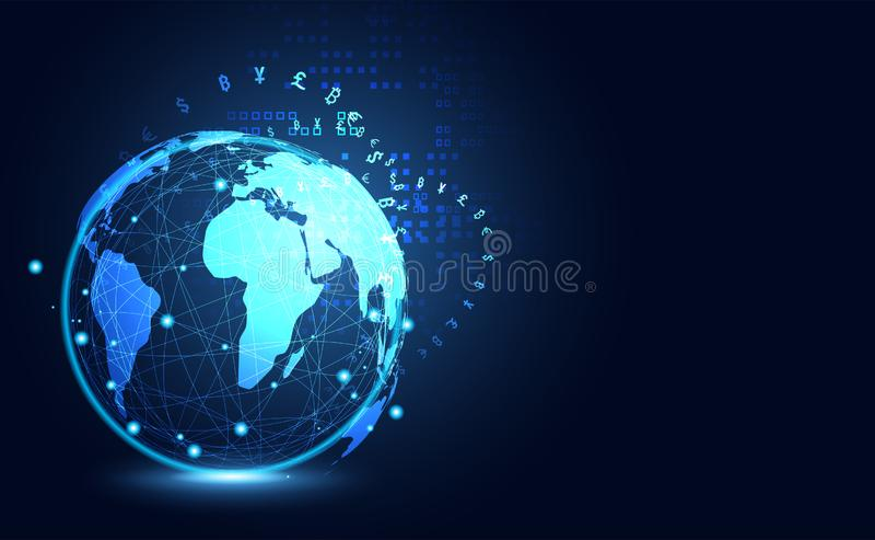 Αφηρημένο μεγάλο σφαιρικό ψηφιακό crypto τεχνολογίας επικοινωνιών στοιχείων απεικόνιση αποθεμάτων