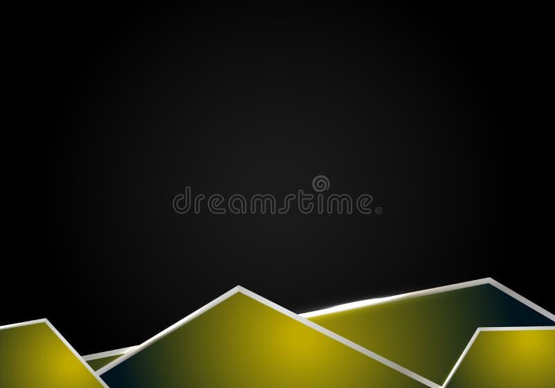 Αφηρημένο μεταλλικό κίτρινο μαύρο υπόβαθρο έννοιας καινοτομίας τεχνολογίας σχεδίου σχεδιαγράμματος πλαισίων ελεύθερη απεικόνιση δικαιώματος