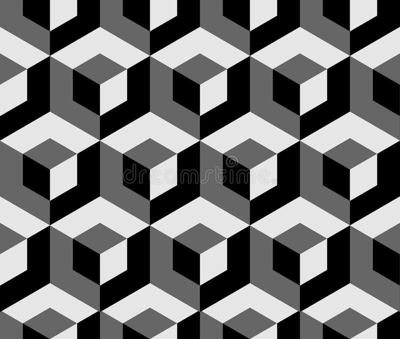 Αφηρημένο μονοχρωματικό σχέδιο με τα επικαλύπτοντας τετράγωνα Άνευ ραφής 3 διανυσματική απεικόνιση
