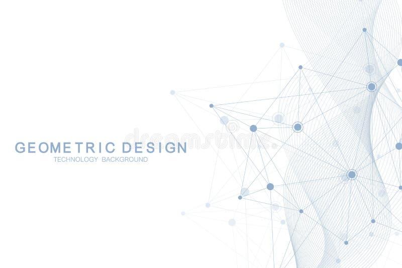 Αφηρημένο μοριακό σχέδιο δικτύων με τις δυναμικά γραμμές και τα σημεία Κύμα ροής, αίσθηση της επιστήμης και της τεχνολογίας γραφι απεικόνιση αποθεμάτων
