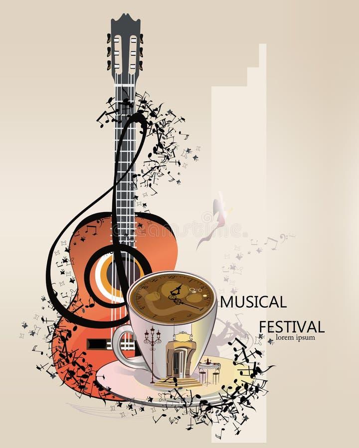 Αφηρημένο μουσικό υπόβαθρο με μια κιθάρα και ένα τριπλό clef ελεύθερη απεικόνιση δικαιώματος