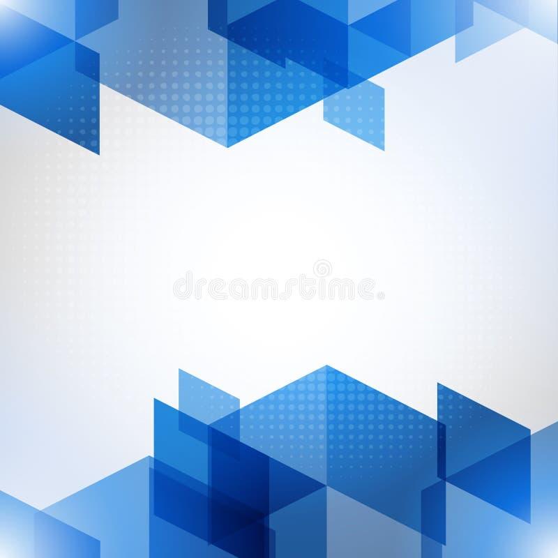 Αφηρημένο μπλε διανυσματικό υπόβαθρο με τον ημίτονο και τα πολύγωνα ελεύθερη απεικόνιση δικαιώματος