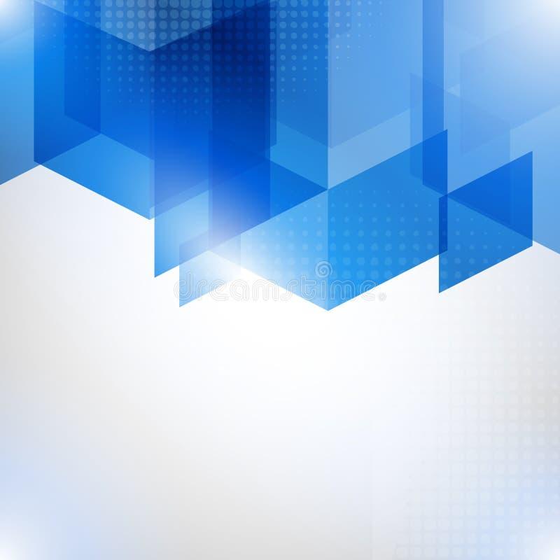 Αφηρημένο μπλε διανυσματικό υπόβαθρο με τον ημίτονο και τα πολύγωνα διανυσματική απεικόνιση
