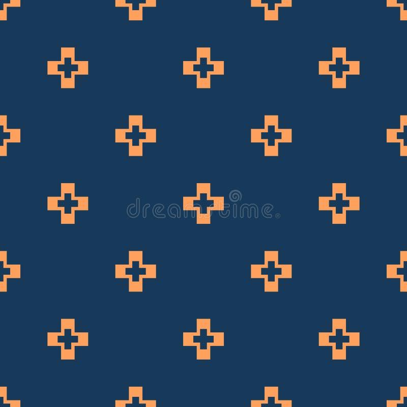 Αφηρημένο μπλε και πορτοκαλί ελάχιστο γεωμετρικό άνευ ραφής σχέδιο με τους μικρούς σταυρούς διανυσματική απεικόνιση