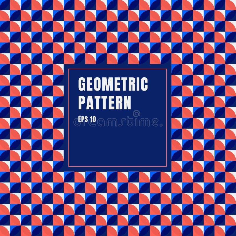 Αφηρημένο μπλε, κόκκινο, άσπρο γεωμετρικό υπόβαθρο σχεδίων κύκλων με το διάστημα αντιγράφων απεικόνιση αποθεμάτων