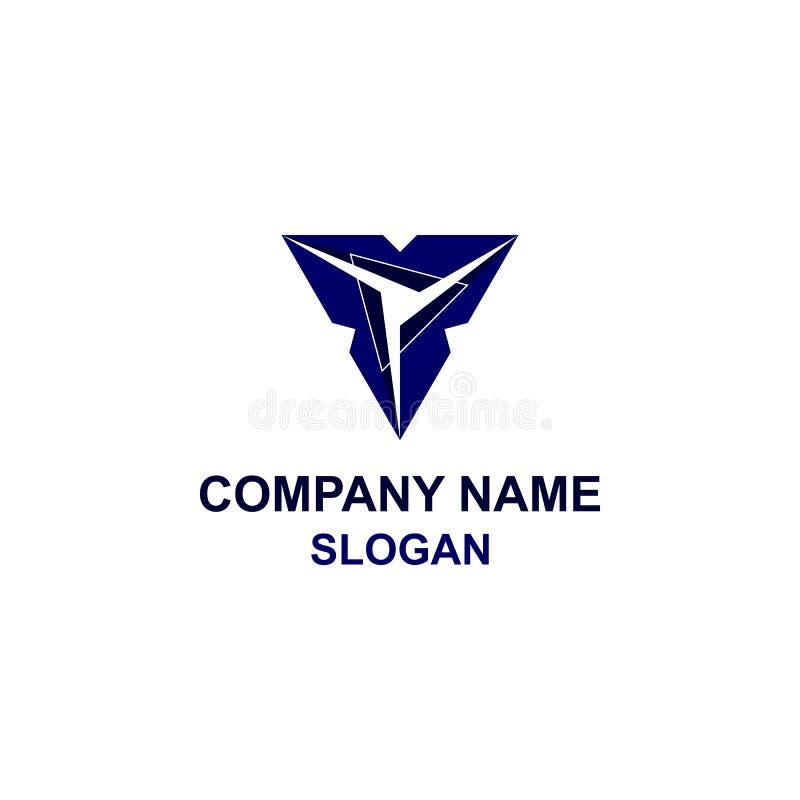 Αφηρημένο μπλε λογότυπο τριγώνων διανυσματική απεικόνιση