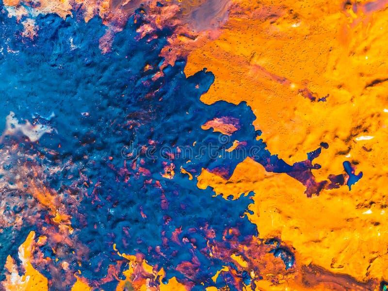 Αφηρημένο μπλε πορτοκαλί υπόβαθρο τέχνης χρωμάτων παραλιών στοκ φωτογραφίες με δικαίωμα ελεύθερης χρήσης