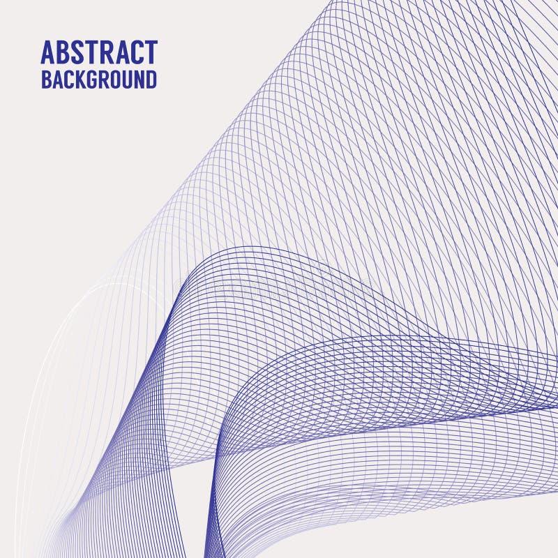 Αφηρημένο μπλε υπόβαθρο γραμμών καμπυλών Τεχνολογία, διάστημα, έννοια μετακίνησης Τετραγωνικό έμβλημα ελεύθερη απεικόνιση δικαιώματος