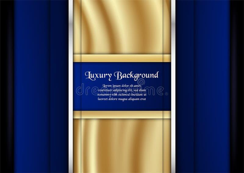 Αφηρημένο μπλε υπόβαθρο στην έννοια ασφαλίστρου με το χρυσό χρώμα Tem διανυσματική απεικόνιση