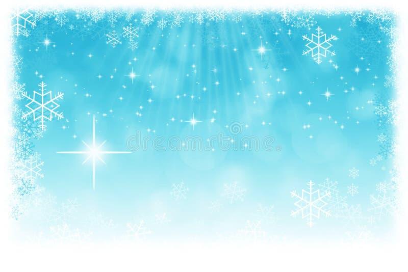Αφηρημένο μπλε υπόβαθρο Χριστουγέννων με τα αστέρια, snowflakes και το λι απεικόνιση αποθεμάτων