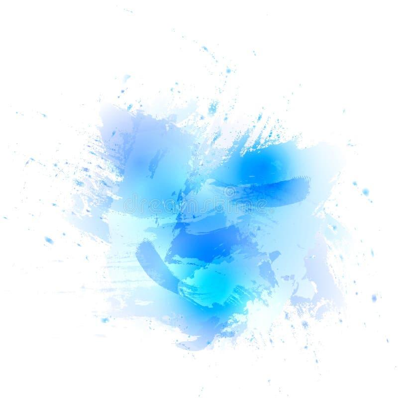 Αφηρημένο μπλε υπόβαθρο watercolor Το ράντισμα χρώματος στο έγγραφο απεικόνιση αποθεμάτων