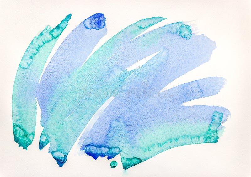 Αφηρημένο μπλε υπόβαθρο watercolor χέρι που επισύρεται την προσοχή σε χαρτί στοκ εικόνα