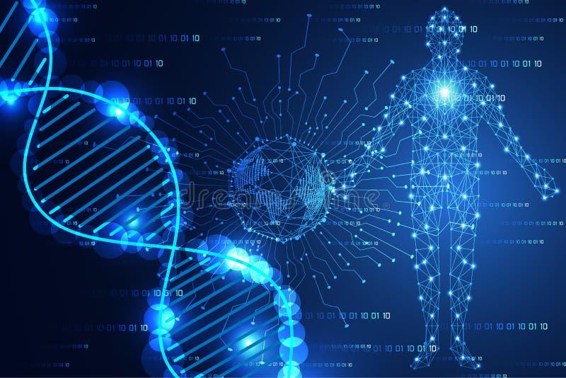 Αφηρημένο μπλε φως μοντέρνων κόσμων έννοιας επιστήμης τεχνολογίας και ελεύθερη απεικόνιση δικαιώματος
