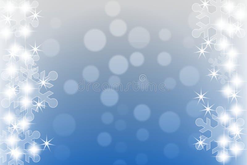 Αφηρημένο μπλε χειμερινό υπόβαθρο με snowflakes και τα αστέρια στοκ φωτογραφία