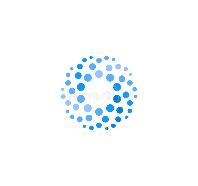 Αφηρημένο μπλε χρώμα γύρω από το λογότυπο από τους κύκλους Διανυσματικό πρότυπο logotype νερού Καινοτόμος καθαρίζοντας και παγώνο διανυσματική απεικόνιση