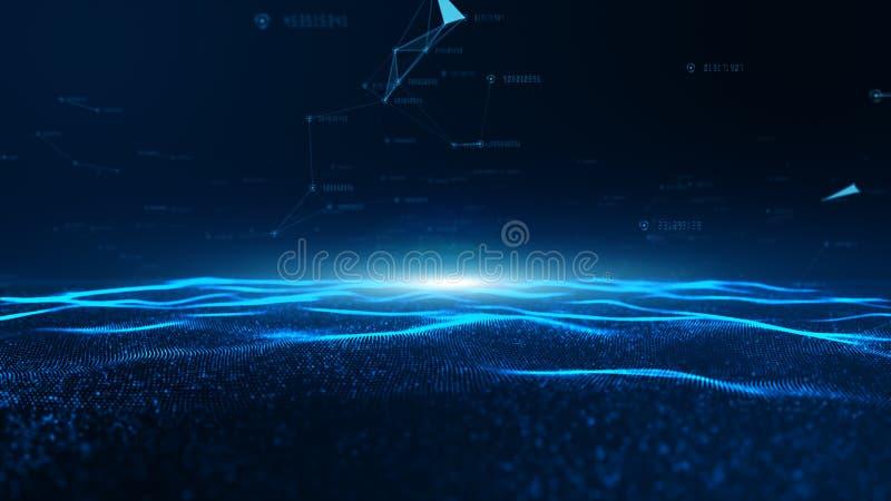 Αφηρημένο μπλε ψηφιακό κύμα σωματιδίων και συνδέσεις ψηφιακού δικτύου δεδομένων για μια τεχνολογία, επικοινωνία ή μέσα κοινωνικής στοκ φωτογραφία με δικαίωμα ελεύθερης χρήσης