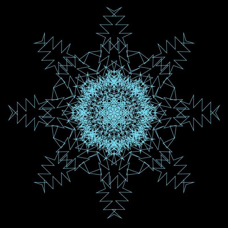 Αφηρημένο μπλε snowflake νέου στο μαύρο διάνυσμα υποβάθρου απεικόνιση αποθεμάτων