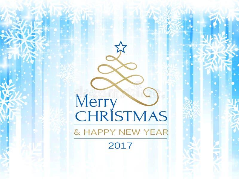 Αφηρημένο μπλε άσπρο snowflake backgro τυπογραφίας Χαρούμενα Χριστούγεννας ελεύθερη απεικόνιση δικαιώματος