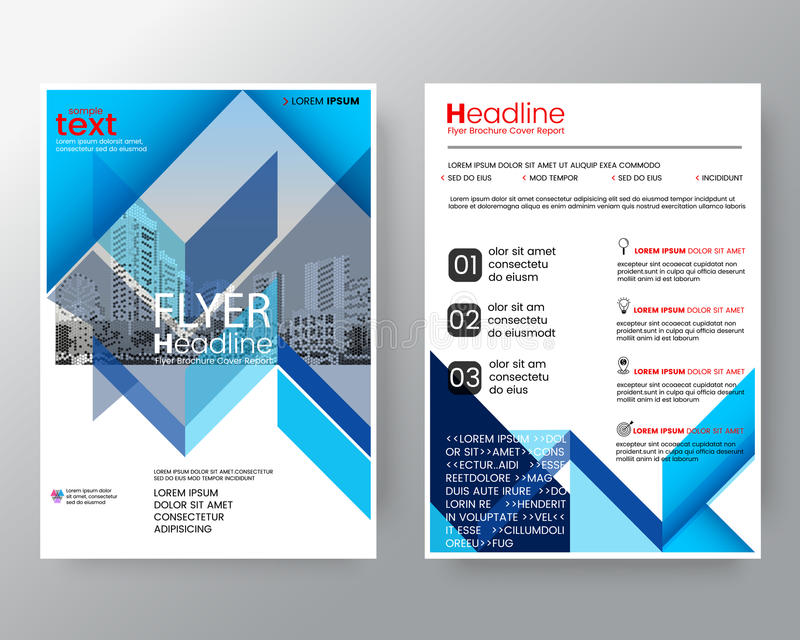 Αφηρημένο μπλε διαγώνιο πρότυπο σχεδιαγράμματος σχεδίου αφισών ιπτάμενων κάλυψης ετήσια εκθέσεων φυλλάδιων γραμμών A4 στο μέγεθος απεικόνιση αποθεμάτων