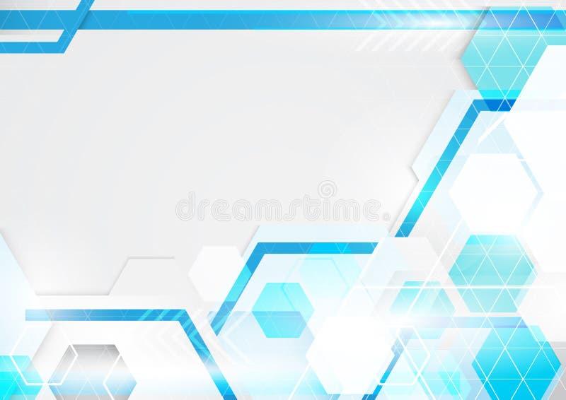 Αφηρημένο μπλε και άσπρο υπόβαθρο τεχνολογίας Σύγχρονος γεωμετρικός ελεύθερη απεικόνιση δικαιώματος