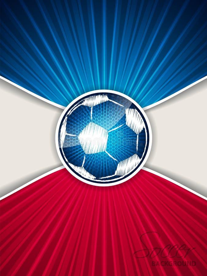 Αφηρημένο μπλε κόκκινο φυλλάδιο ποδοσφαίρου με την κακογραμμένη σφαίρα διανυσματική απεικόνιση