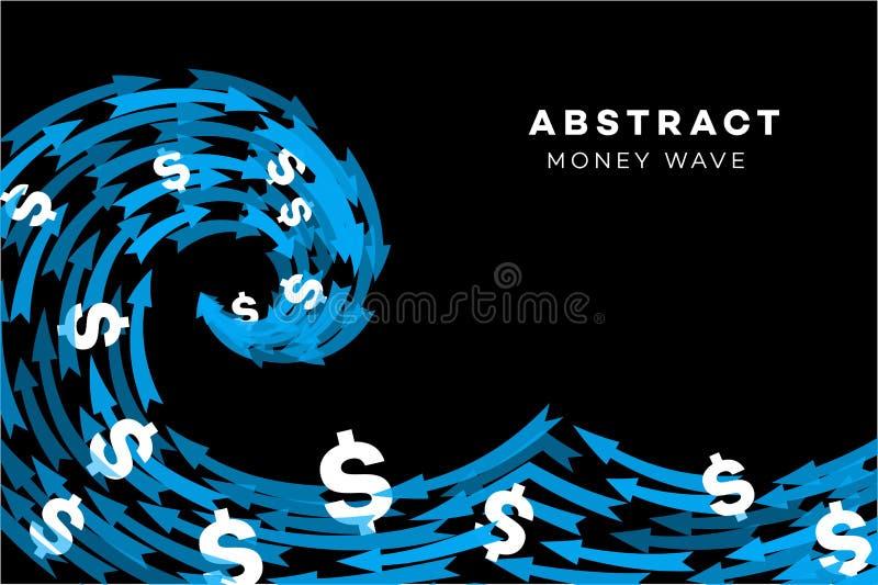 Αφηρημένο μπλε κύμα με τα δολάρια και τα βέλη οποιαδήποτε εννοιολογικά περιβαλλοντικά πράσινα να αναπτύξει χρήματα επενδύσεων επέ διανυσματική απεικόνιση