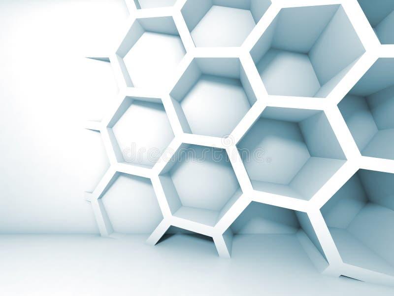Αφηρημένο μπλε τρισδιάστατο εσωτερικό με την κηρήθρα διανυσματική απεικόνιση