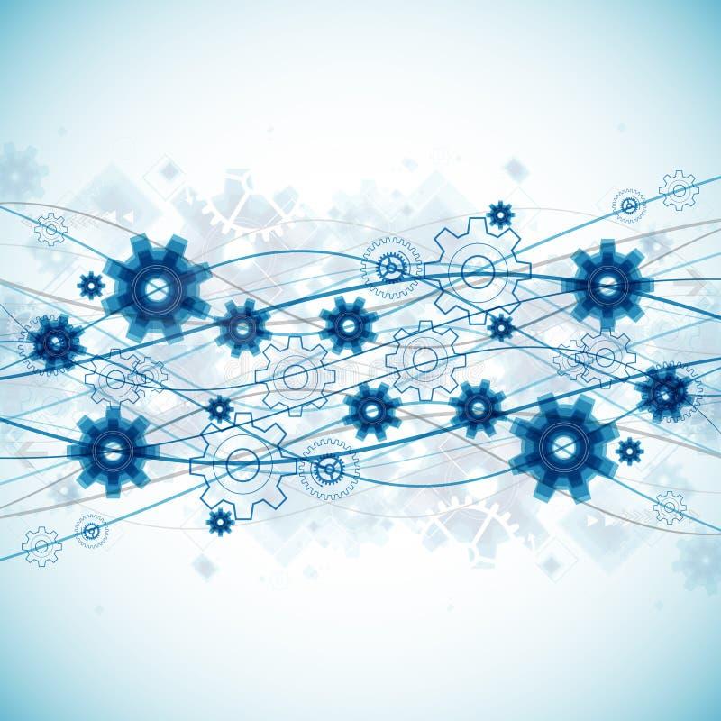 Αφηρημένο μπλε υπόβαθρο επιχειρησιακών προτύπων τεχνολογίας κυμάτων διανυσματική απεικόνιση