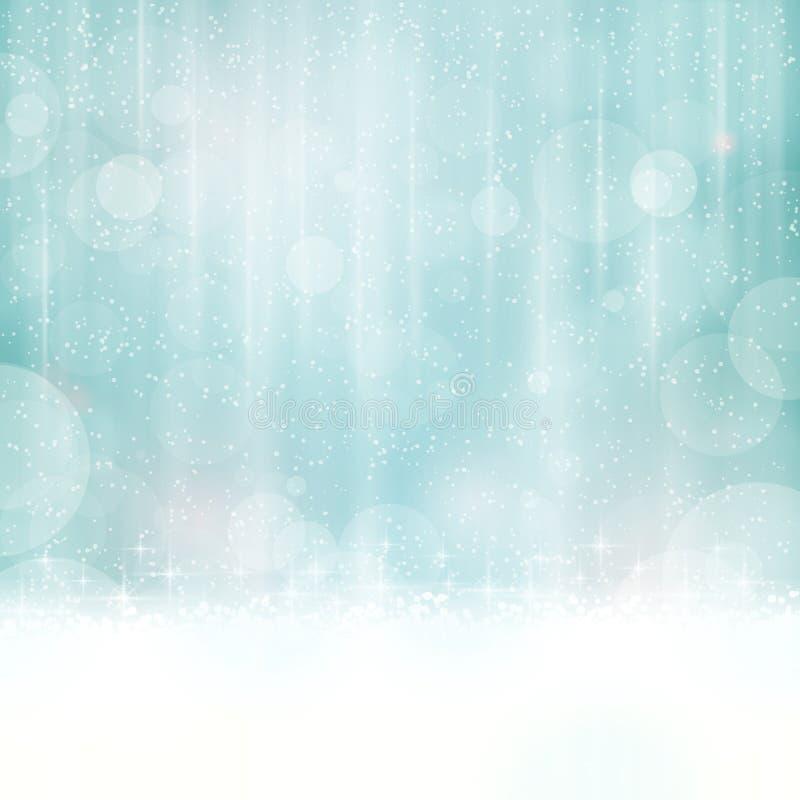 Αφηρημένο μπλε υπόβαθρο με τα μουτζουρωμένα φω'τα ελεύθερη απεικόνιση δικαιώματος