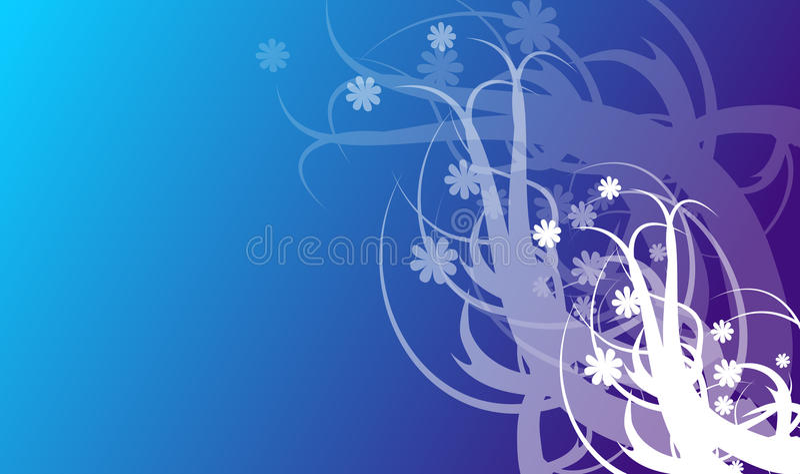 Αφηρημένο μπλε υπόβαθρο με τις διακοσμήσεις διανυσματική απεικόνιση
