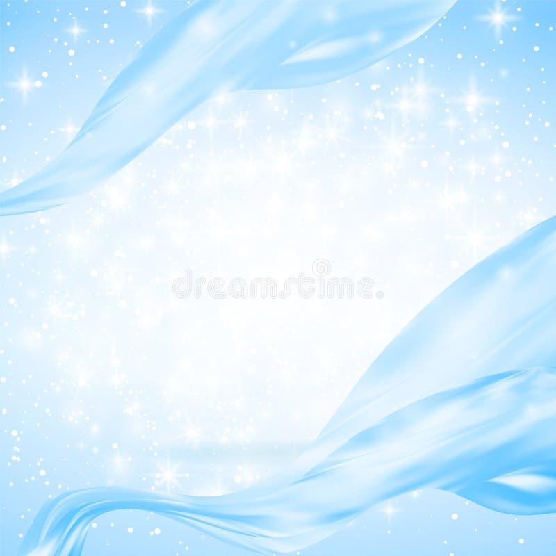 Αφηρημένο μπλε υπόβαθρο με το φως, τις γραμμές, τους σπινθήρες και τα αστέρια οι κορδέλλες μεταξιού κάμπτουν και πετούν Copyspace απεικόνιση αποθεμάτων