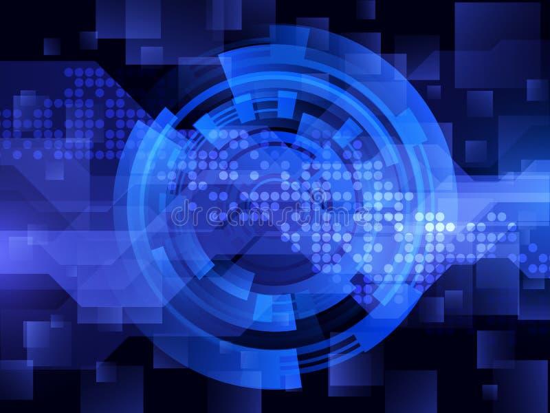 Αφηρημένο μπλε φουτουριστικό ψηφιακό υπόβαθρο τεχνολογίας επίσης corel σύρετε το διάνυσμα απεικόνισης ελεύθερη απεικόνιση δικαιώματος