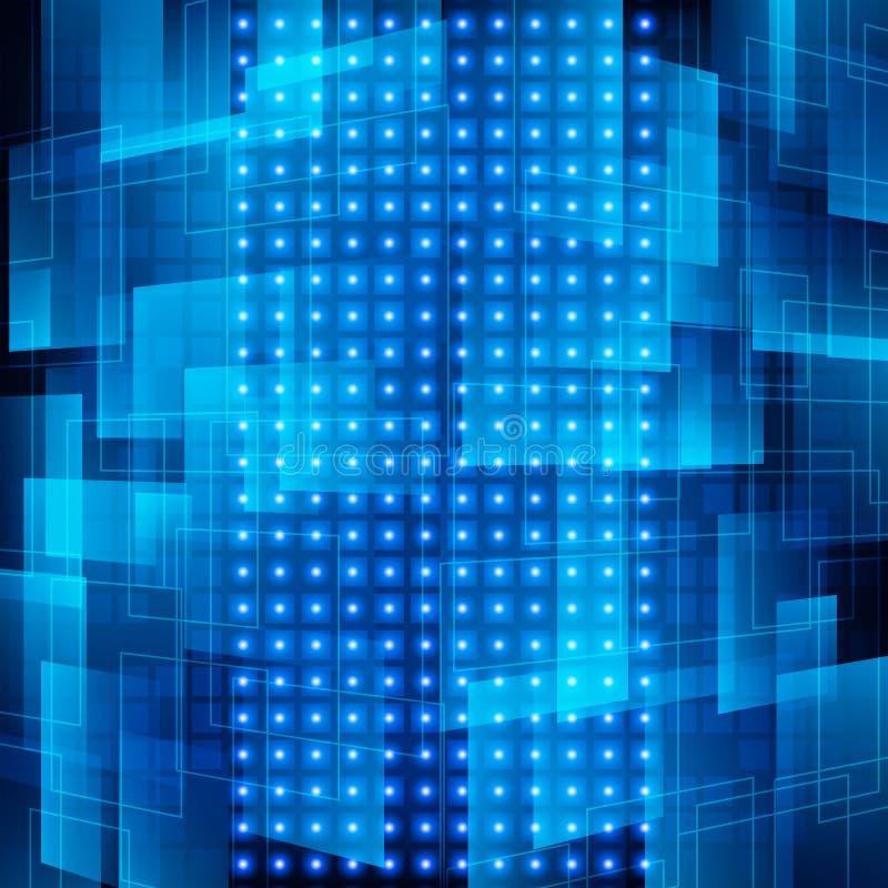 Αφηρημένο μπλε ψηφιακό υπόβαθρο τεχνολογίας επίσης corel σύρετε το διάνυσμα απεικόνισης ελεύθερη απεικόνιση δικαιώματος