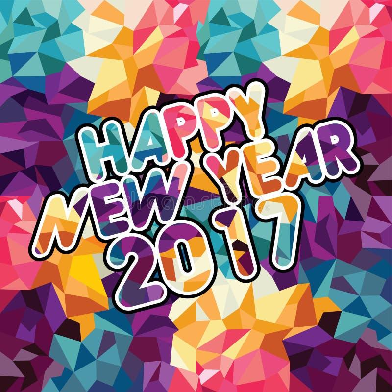 αφηρημένο μωσαϊκό χρώματος τριγώνων κειμένων καλής χρονιάς ελεύθερη απεικόνιση δικαιώματος
