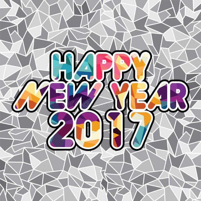 αφηρημένο μωσαϊκό χρώματος τριγώνων κειμένων καλής χρονιάς διανυσματική απεικόνιση